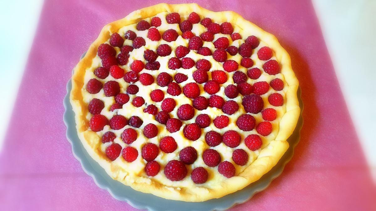 Tarte aux framboises crème pâtissière (facile)